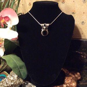 Vintage double bail garnet & pearl silver pendant